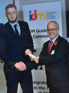David receives the IDM Professional Diploma in Direct and Digital Marketing