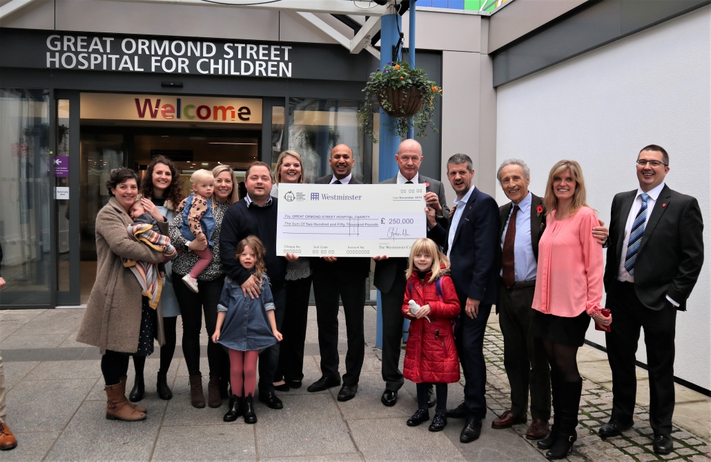 Key representatives from Great Ormond Street Hospital, The Isle of Man Treasury, Tower Mint and The Westminster Collection attend the £250,000 cheque giving ceremony